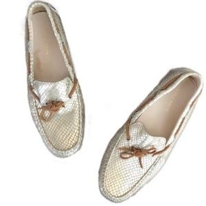 COLE HAAN gold snake print driving loafers 7.5